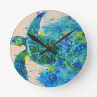 sea turtle round clock