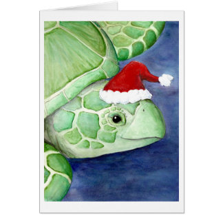 Sea Turtle Santa Card