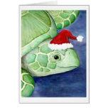 Sea Turtle Santa Greeting Cards