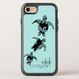 Sea Turtle Silhouette and Aqua Monogram OtterBox Symmetry iPhone 8/7 Case