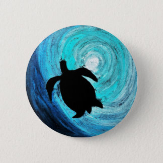 Sea Turtle Silhouette (K.Turnbull Art) 6 Cm Round Badge