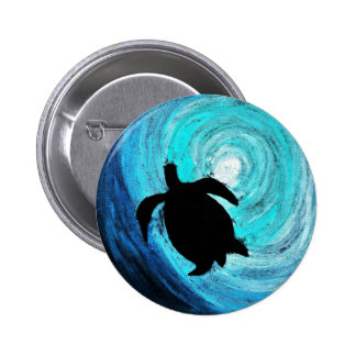 Sea Turtle Silhouette (K.Turnbull Art) 6 Cm Round Badge