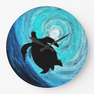 Sea Turtle Silhouette (K.Turnbull Art) Large Clock