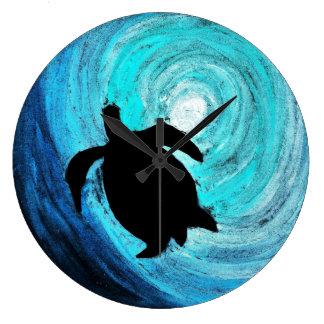 Sea Turtle Silhouette (K.Turnbull Art) Wall Clock