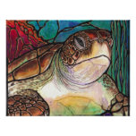 Sea Turtle Stained Glass Style Fine Art Prints