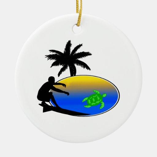 Sea Turtle Surfer Round Ceramic Decoration