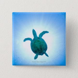 Sea turtle swimming underwater 15 cm square badge