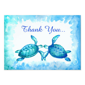 Sea Turtle Thank You Cards - Blue Teal Watercolor