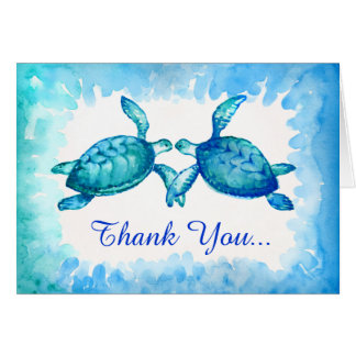 Sea Turtle Thank You Note Cards | Blue Green Teal