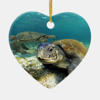 Sea turtle tranquility in underwater lagoon christmas ornament