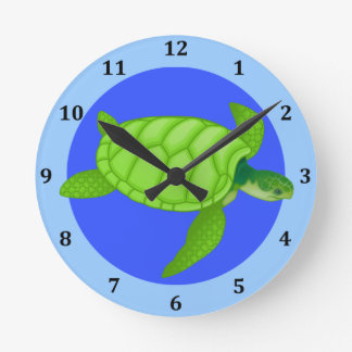 Sea Turtle Tropical Beach Ocean Blue Round Clock