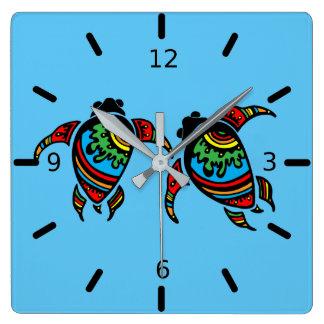 Sea Turtle Twins Wall Clock
