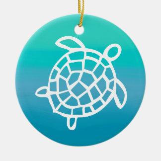 Sea Turtle Watercolor Ocean Round Ceramic Decoration