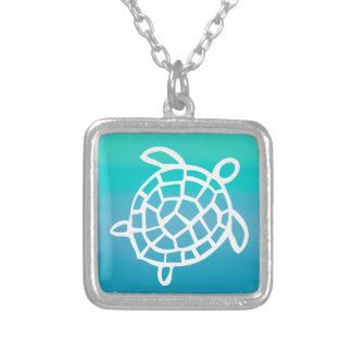 Sea Turtle Watercolor Ocean Silver Plated Necklace