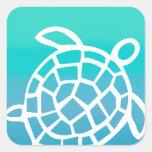 Sea Turtle Watercolor Ocean Square Sticker