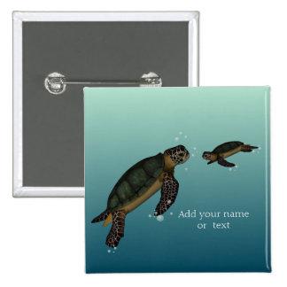 Sea Turtles 15 Cm Square Badge