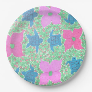 Sea Turtles and Flowers Paper Plates