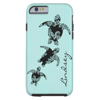 Sea Turtles Aqua Stripe with Name Tough iPhone 6 Case