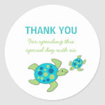 Sea Turtles Baby Shower Birthday Party favour Round Sticker