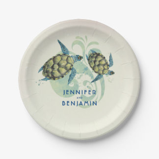 Sea Turtles Beach Coastal Nautical Paper Plate