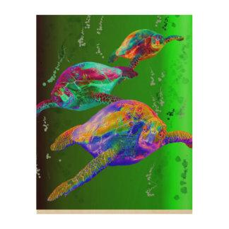 Sea Turtles in a Green Sea Wood Prints
