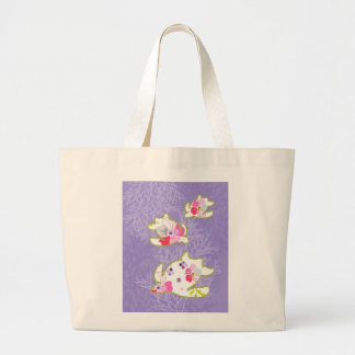 Sea Turtles on Plain violet background Canvas Bags