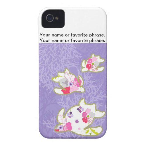 Sea Turtles on Plain violet background. iPhone 4 Covers