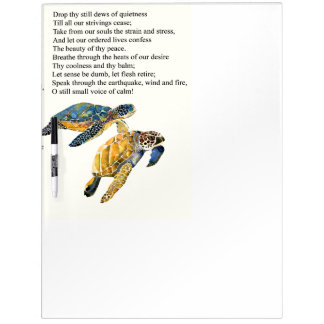 Sea Turtles Peace Prayer Poem Dry Erase Board