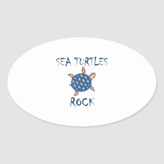 SEA TURTLES ROCK OVAL STICKERS