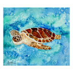 sea turtles square art painting print