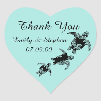 Sea Turtles Thank You Heart Sticker