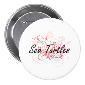 Sea Turtles with flowers background 7.5 Cm Round Badge