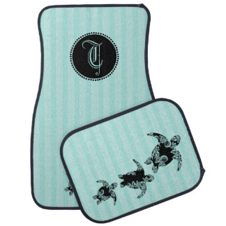 Sea Turtles with Monogram Car Mat