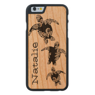 Sea Turtles with Name Carved Cherry iPhone 6 Case