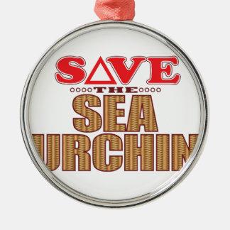 Sea Urchin Save Silver-Colored Round Decoration