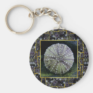 Sea Urchin With Abstract Background Keychains