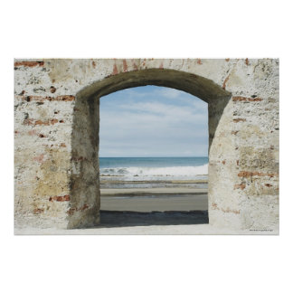 Sea viewed from an archway poster