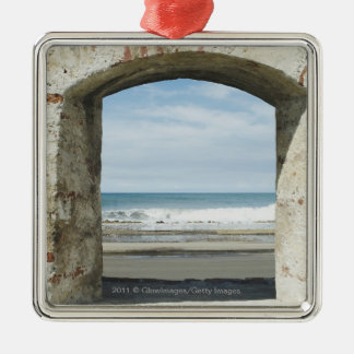 Sea viewed from an archway Silver-Colored square decoration