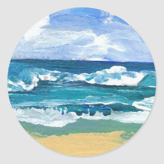 Sea Waves at Play - CricketDiane Ocean Art Round Stickers