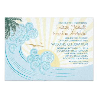 Sea waves beach wedding invitations