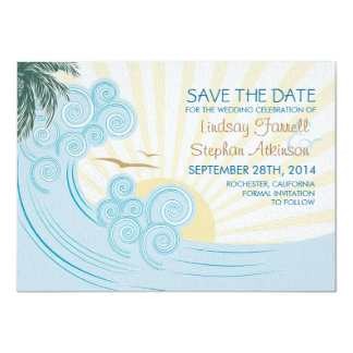 Sea waves beach wedding save the date cards 11 cm x 16 cm invitation card