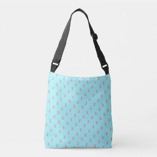 Sea with beads on light blue crossbody bag