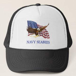 Seabees Bald Eagle American Flag Design Trucker Hat