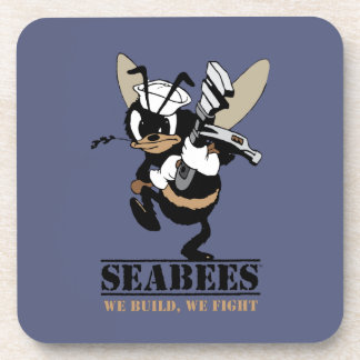 Seabees We build We Fight Hard Plastic Coaster