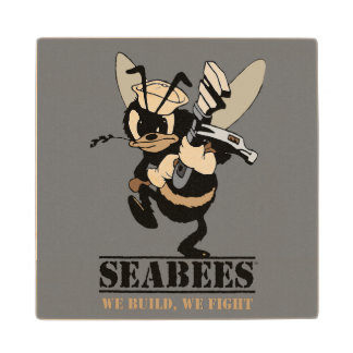 Seabees We build We Fight Wooden Coaster