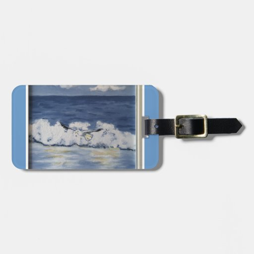 seabird waves beach luggage tag