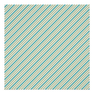 Seafoam and Sage Green Diagonal Stripes Posters