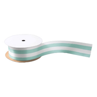 Seafoam and White Horizontal Stripes Satin Ribbon