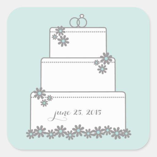Seafoam Blooms Wedding Cake Favor Stickers