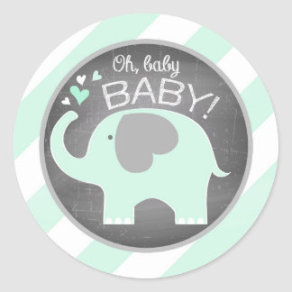 Seafoam Elephant Diagonal Stripe Baby Shower Round Sticker